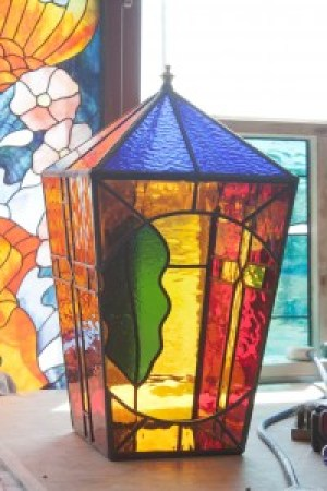 Large Lantern Opening Section of stained glass lantern, amber colored glass.