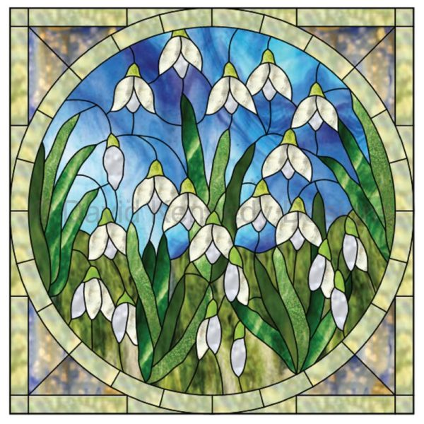 Snowdrops Stained Glass Pattern Design by David Kennedy