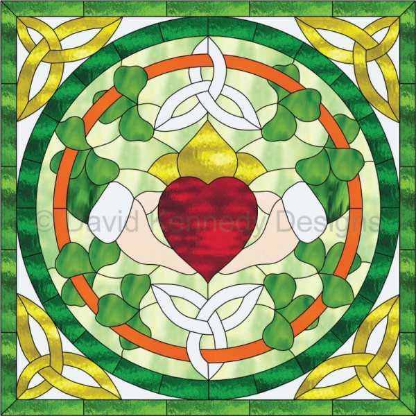 Triquetra Claddagh stained glass pattern design by David Kennedy