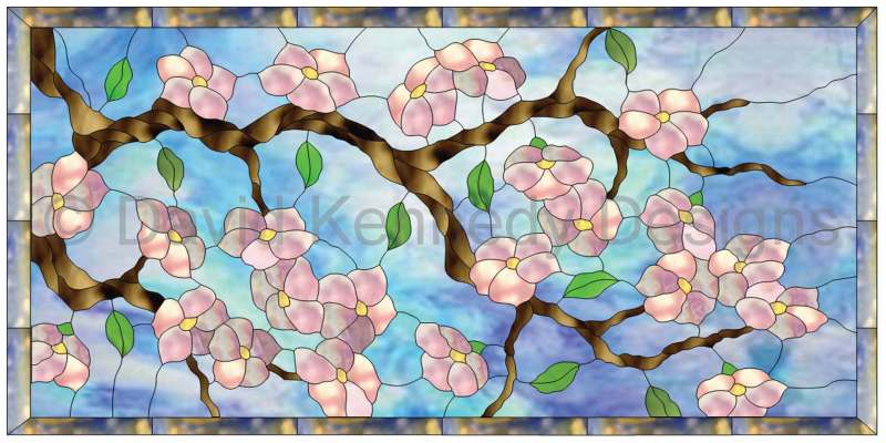 Cherry Blossom Transom Pattern of pink cherry blossoms on a brown tree branch against a blue sky, surrounded by a blue and amber mottled border.
