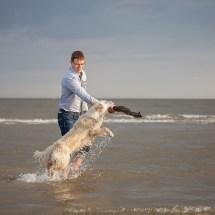 Indrek and Saara having fun by the sea
