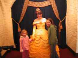 Belle in her gold ball gown at Akershus