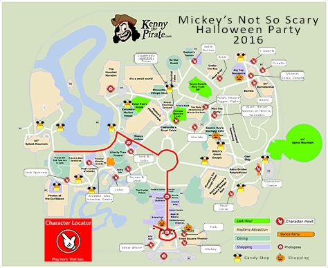 Mickey's Not So Scary Halloween Party Map with Character Locations