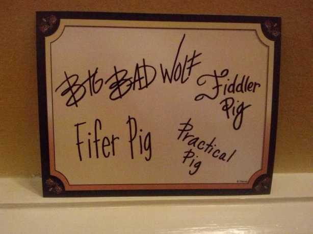 Three LIttle Pigs and Big Bad Wolf Autograph back