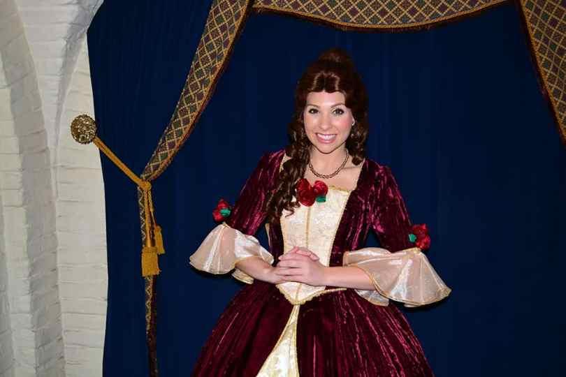 Walt Disney World, Epcot, Akershus Royal Banquet Hall, Princess Character Meal, Belle in Christmas Dress