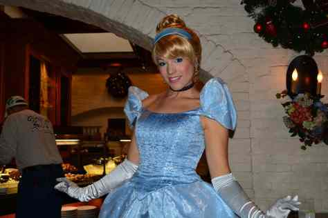 Walt Disney World, Epcot, Akershus Royal Banquet Hall, Princess Character Meal, Belle in Christmas Dress, Cinderella