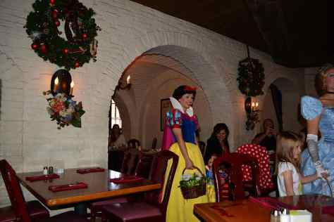 Walt Disney World, Epcot, Akershus Royal Banquet Hall, Princess Character Meal, Belle in Christmas Dress, Snow White