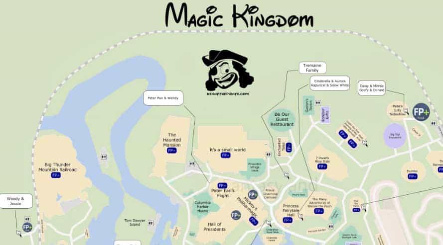 KennythePirates Magic Kingdom Map including Fastpass Plus