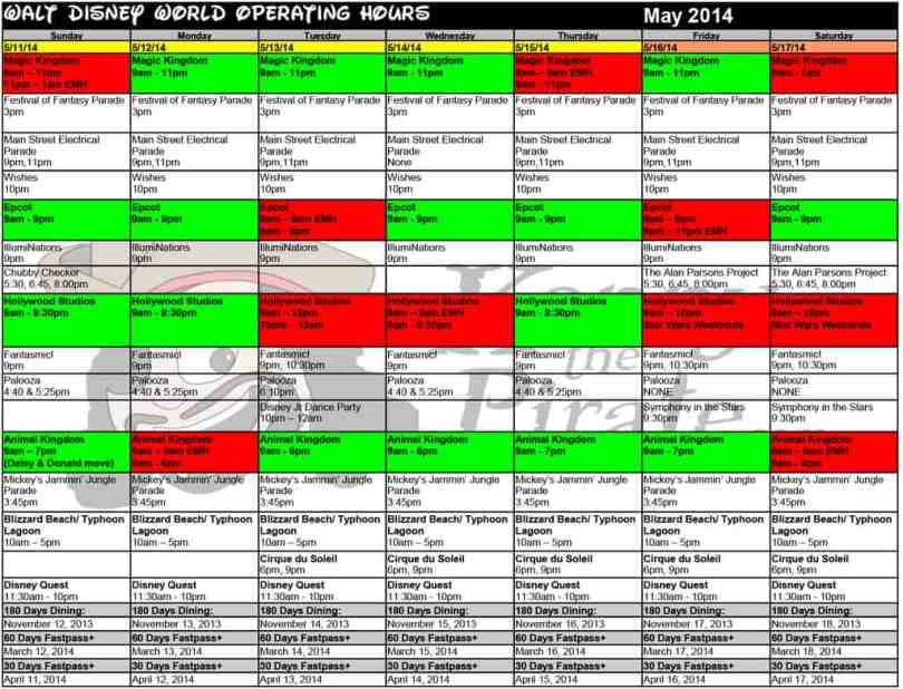 Walt disney world park hours may 2014 kennythepirate 3 Busch gardens crowd calendar