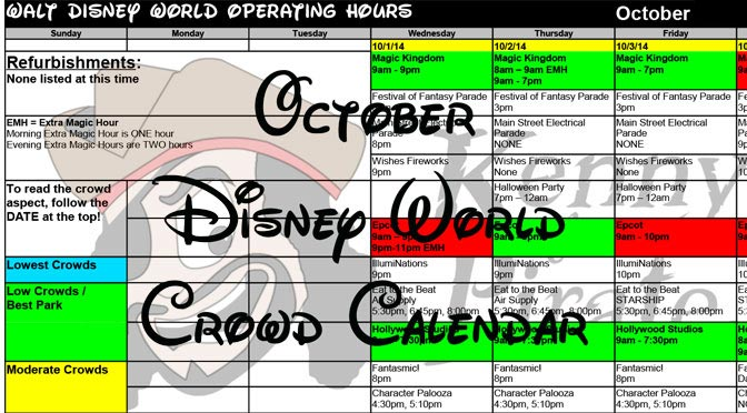 October 2016 Disney World Crowd Calendar and Mickey's Not So Scary Halloween Party dates