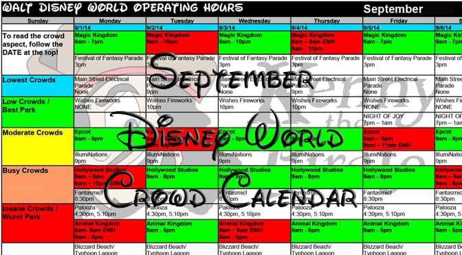 September 2017 Disney World Crowd Calendar now available ...