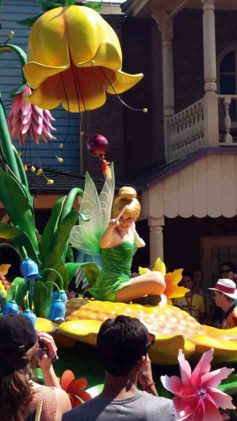 Tinker Bell in Festival of Fantasy Parade in Magic Kingdom
