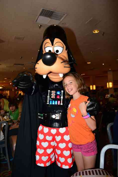 Darth Goofy at Jedi Mickey Star Wars Diner at Hollywood and Vine in Disney Hollywood Studios