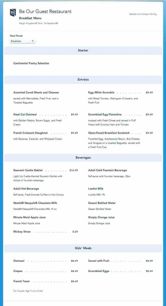 Be Our Guest Restaurant Breakfast Menu