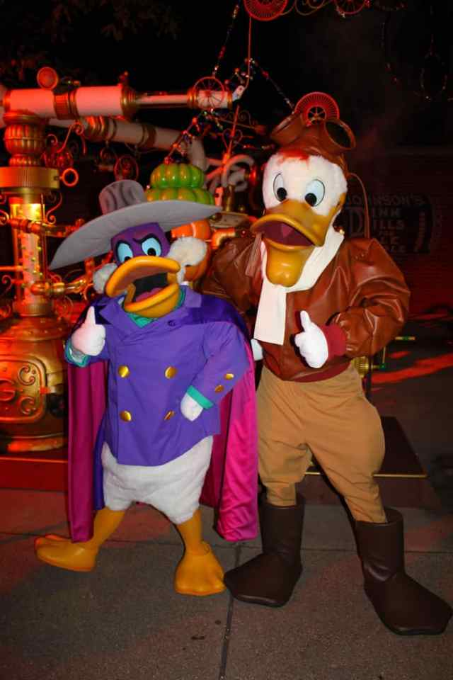 Darkwing Duck and Launchpad McQuack at Disneyland Paris Halloween Soiree 2014