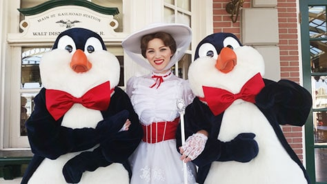 Mary Poppins meet and greet with Penguins at the Magic Kingdom in Walt Disney World