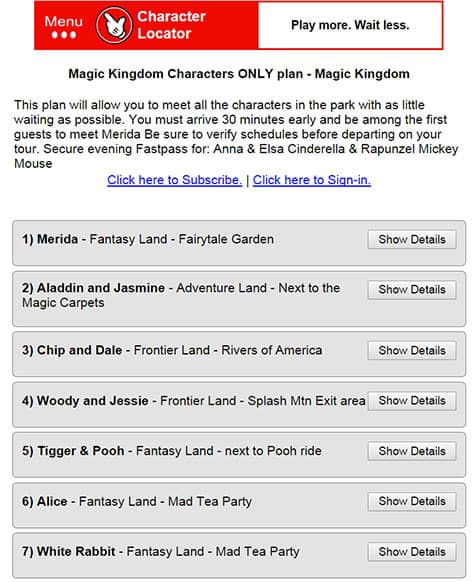 Character Locator App for Disney World now offering Touring Plans 6