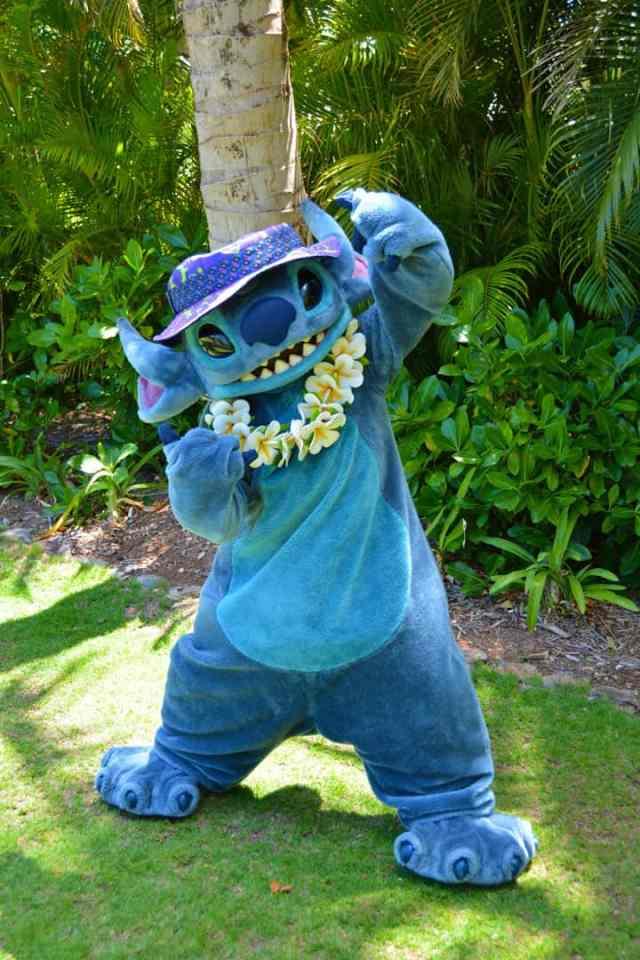 Stitch at the Halawai Lawn at Disney's Aulani in Oahu Hawaii