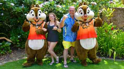 Chip n Dale at the Halawai Lawn at Disney's Aulani in Oahu Hawaii