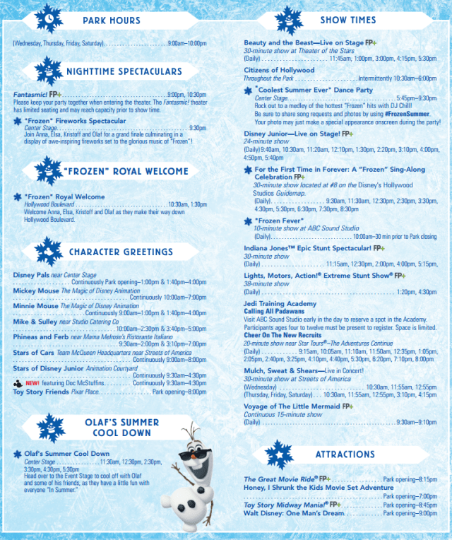 Hollywood Studios Time Guide June 17 to 20 2015 Back