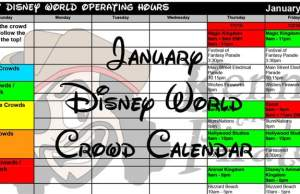January 2018 Walt Disney World Park Hours, Extra Magic Hours and Crowd Calendar created
