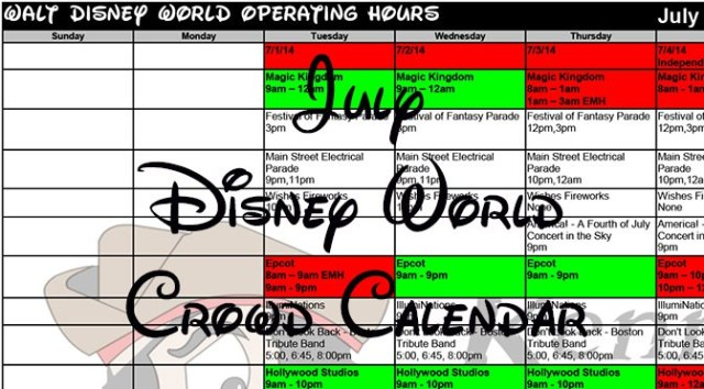 Disney World Crowd Calendar July 2017