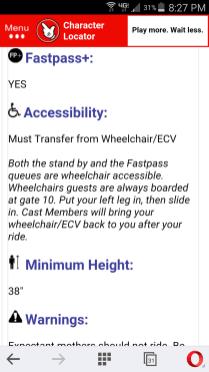 Character Locator Ride Info