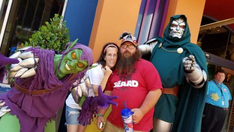 Universal Orlando Character Day with Ryan and Heather April 2016 (69) Green Goblin and Dr Doom