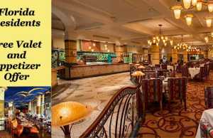 Florida Residents Free Valet and Appetizer Offer
