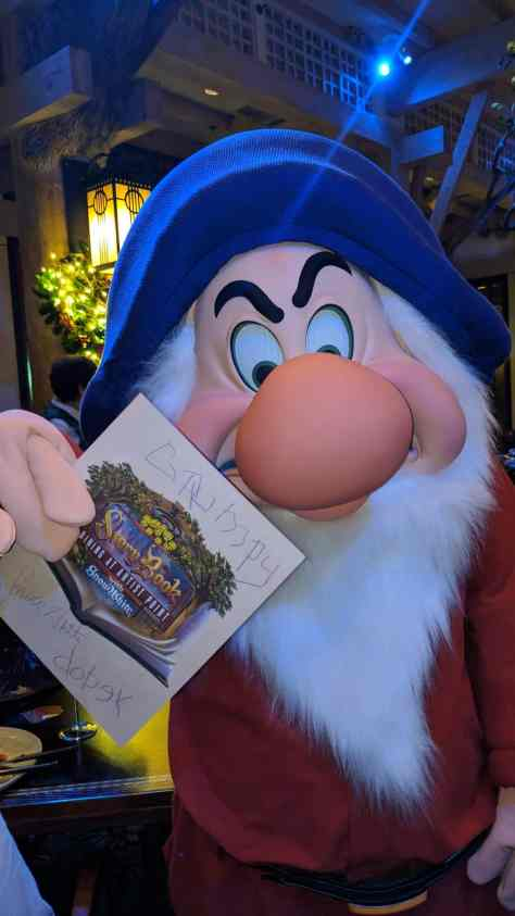 Grumpy Artist Point Storybook Dining at Disney's Wilderness Lodge
