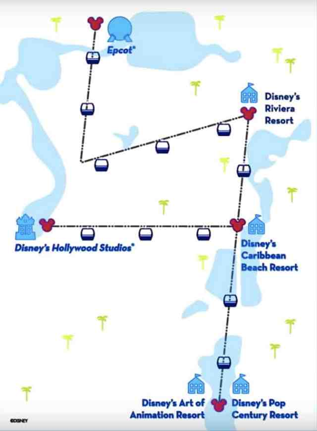 Disney's Skyliner Gondola map
