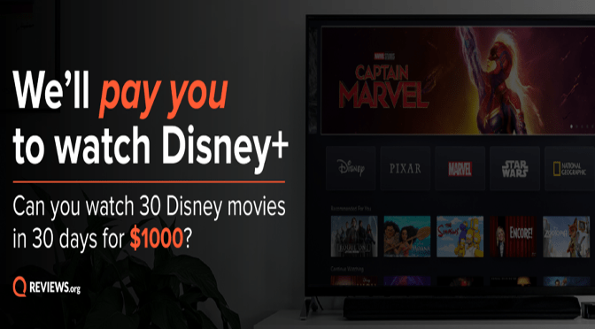 Earn $1000 for watching Disney+ television shows