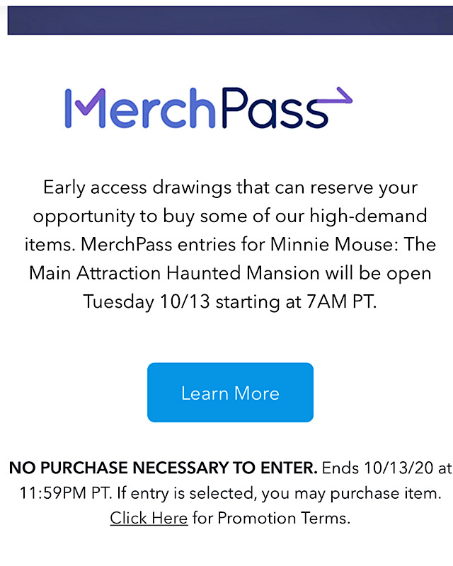 haunted mansion merchandise pass date