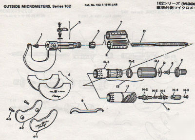 Mitutoyo parts catalog with exploded views & diagrams
