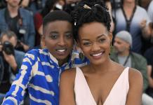"""Kenyan actress Samantha Mugatsia (L) and Kenyan actress Sheila Munyiva pose on May 9, 2018 during a photocall for the film """"Rafiki"""" during the 71st edition of the Cannes Film Festival in Cannes, southern France. (Photo by LOIC VENANCE / AFP) (Photo credit should read LOIC VENANCE/AFP/Getty Images)"""