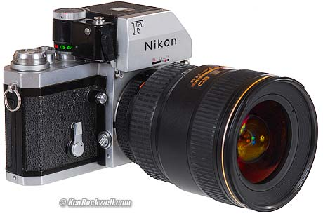 A 1969 Nikon F with current 17-35mm AF-S lens