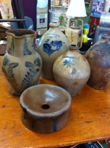 Antique American stoneware collection. New England , pa. -jugs, crocks many pieces, excellent condition. 301-946-7464