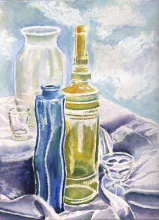 Title: Glass Still Life Medium: Water color Date: October 2, 2012 Dimensions: 16 inches x 12 ¼ inches