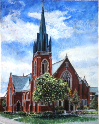 Title: St. Patrick Church Medium: Water color Date: May 27, 2013 Dimensions: 16 ¼ inches x 20 ¼ inches