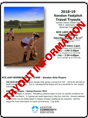 KCE 2018-19 Fastpitch Tryouts | Kenston Community Education