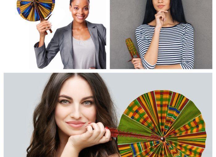 African Print Folding Hand Fan
