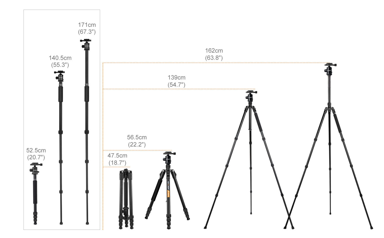 K&F Concept TM2534 DSLR Camera Tripod Monopod Kit 65inch