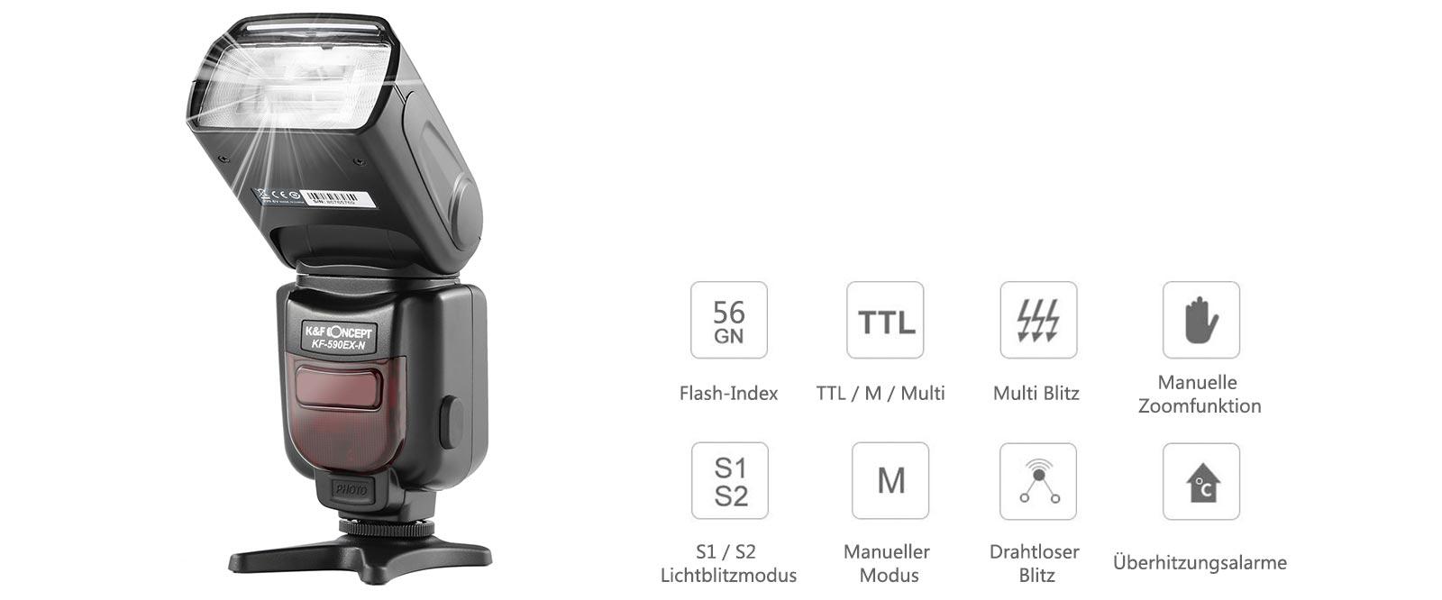 K&F Concept KF590C E-TTL Blitz Flash für Canon GN56