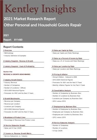 Other Personal Household Goods Repair Report