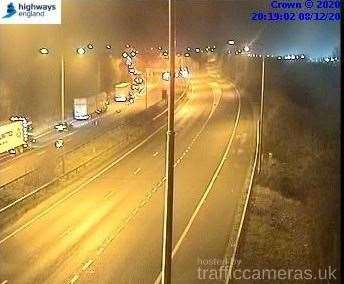 Police shut the London-bound carriageway of the M20 following the crash