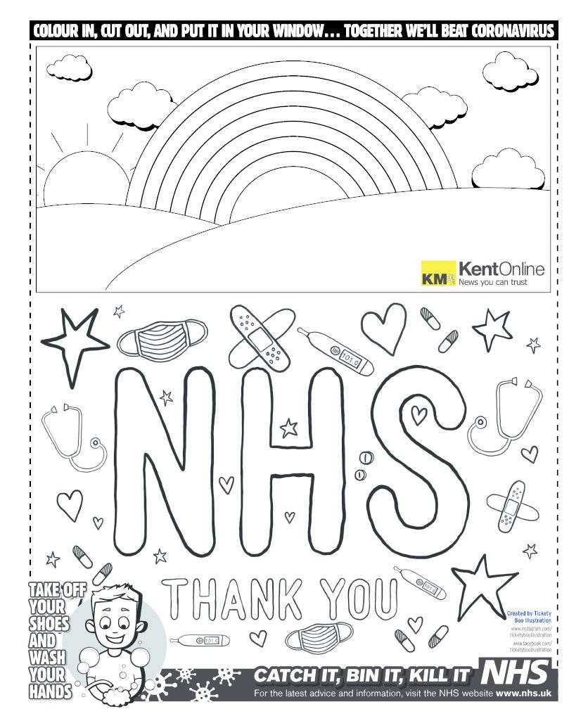 Coronavirus Kent: Poster to download and colour to thank