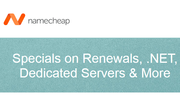 specials promo domain renewal namecheap