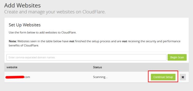 continue setup domain cloudflare