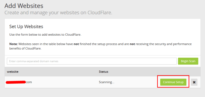 continue setup domain cloudflare