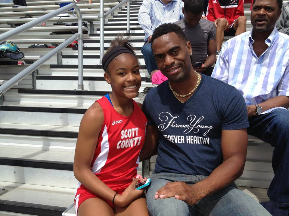Trinity Gay, a Scott County seventh-grader racing for her high school team, won the 100 meters and was part of the winning 4-by-100 and 4-by-200 relays at the meet named for her dad, Tyson Gay.
